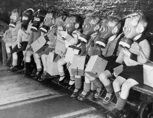 children in gas masks