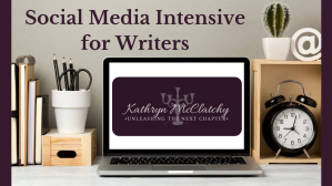 Graphic promoting the 90-day online course for writers to learn social media strategy and content creation.